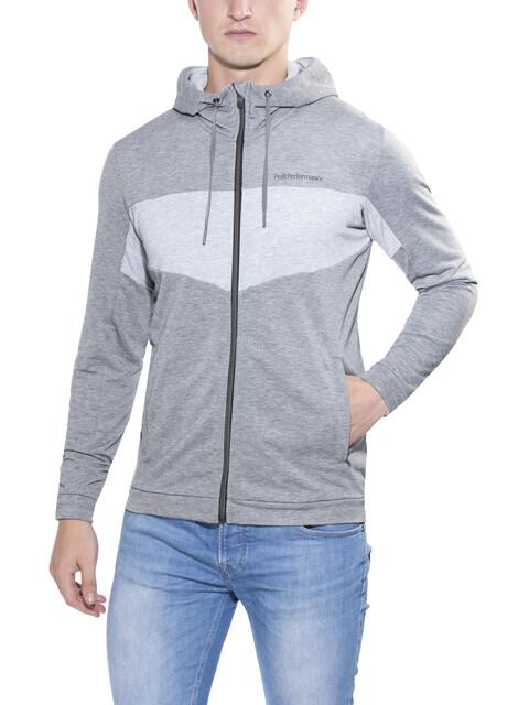 Peak Performance Structure Zip Hood Sweatshirt Men Grey melange